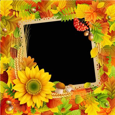 flowers8 leaf vector photo frame