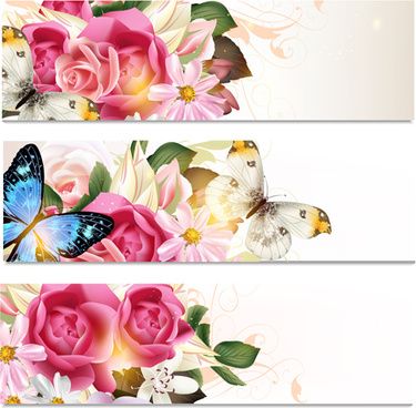 flowers and butterflies banners vectors