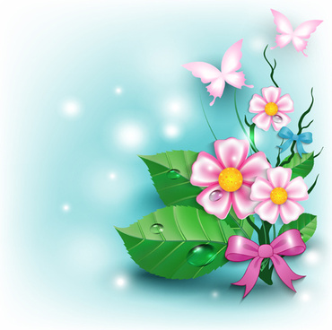 flowers and butterflies with bow background vector