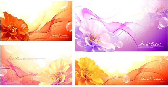 flowers and fantasy background vector graphic