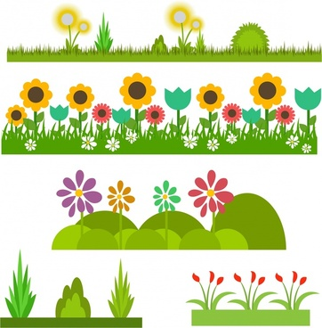 flowers and grass design collection colorful style