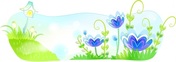 nature background flowers decoration classical green blue ornament