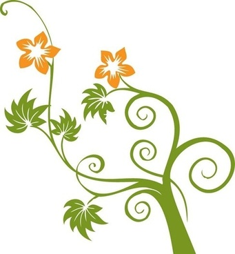 Flowers and Swirls Vector Graphic