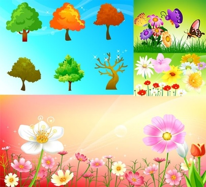flowers and trees butterflies vector