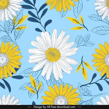 flowers background classical colorful handdrawn sketch