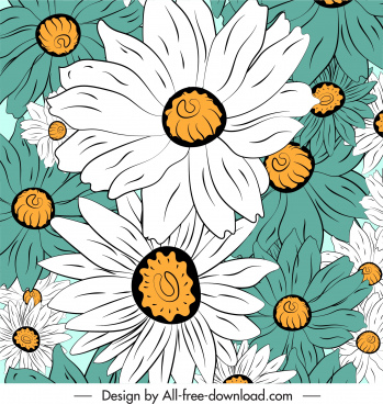 flowers background colored classic handdrawn sketch closeup design