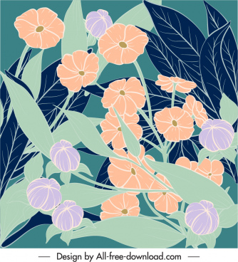 flowers background colored retro handdrawn sketch