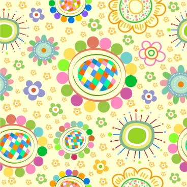 flowers background colorful circles curves decoration
