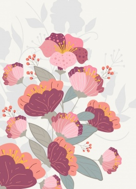 flowers background colorful classical design