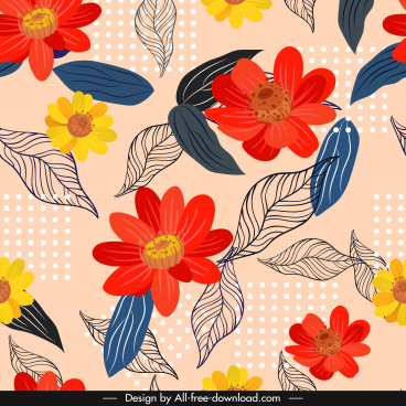 flowers background colorful classical handdrawn sketch