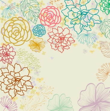 flowers background colorful flat outline