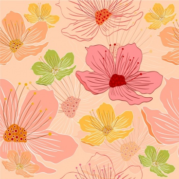 flowers background colorful handdrawn icons