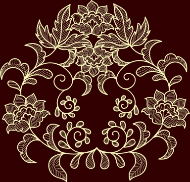 flowers background dark brown design classical symmetry