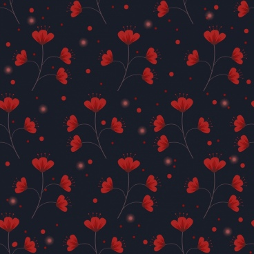 flowers background dark red repeating icons pattern