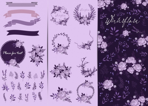 flowers background design elements purple icons decor
