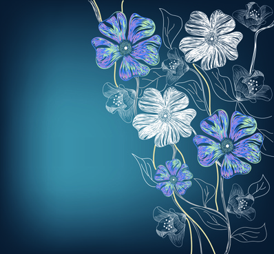 flowers background design elements vector