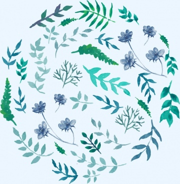 flowers background green design circle layout