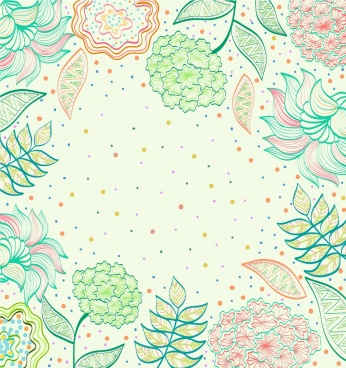 flowers background multicolored handdrawn decoration