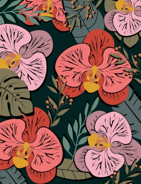 flowers background multicolored retro design