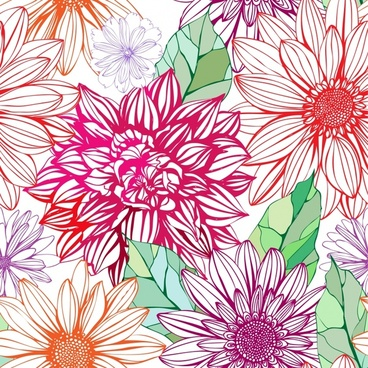 flowers background pattern vector line art