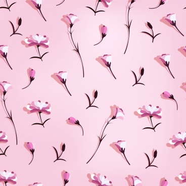 flowers background pink icons decor repeating design