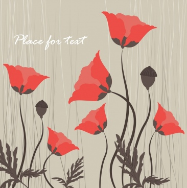 flowers background red icons retro design