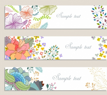 flowers background sets colorful handdrawn decor