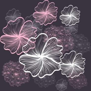 flowers background sparkling contrast sketch