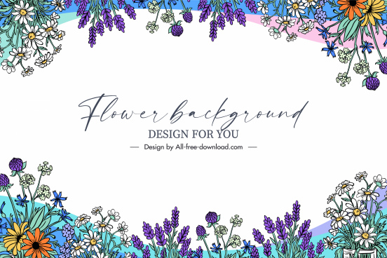 flowers background template bright handdrawn elegant classical
