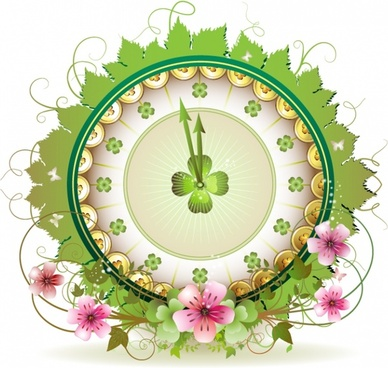 clock template floral leaves decor
