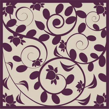 flowers background violet swirl flat decor