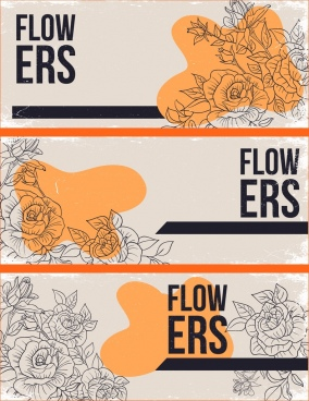 flowers backgrounds orange retro sketch