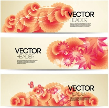 decorative floral banner templates elegant bright modern design