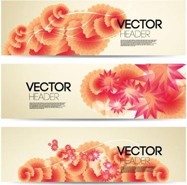 flowers banner vector 2