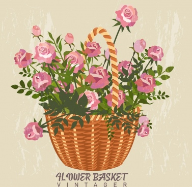 flowers basket background colored classical decor