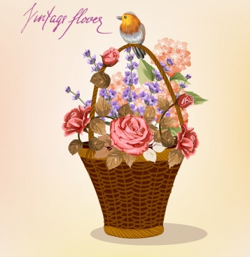 flowers basket painting small bird decoration