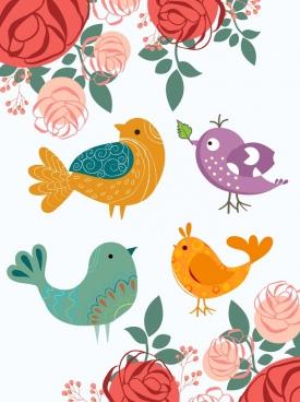 flowers birds background colorful cartoon design
