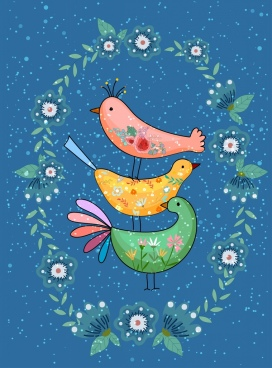 flowers birds background colorful classical decor