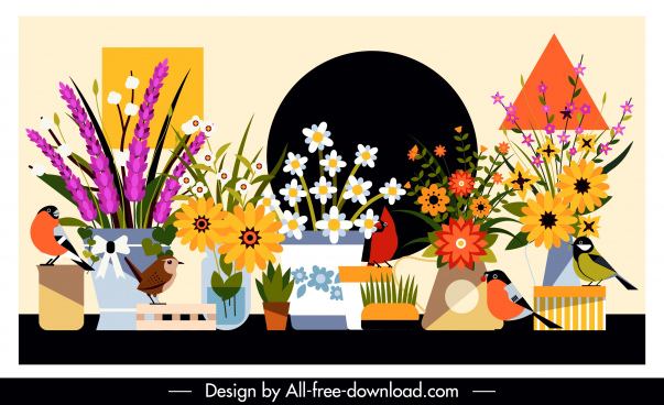 flowers birds background colorful classical design