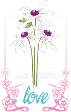 flowers border love vector