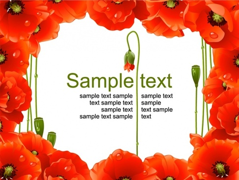 flower border template petals icons red realistic design