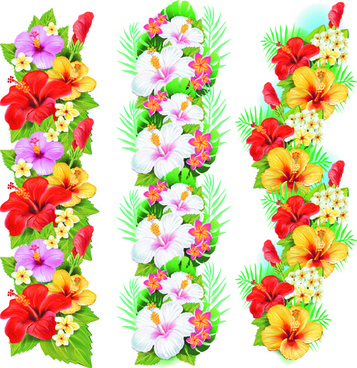 flowers borders vector set