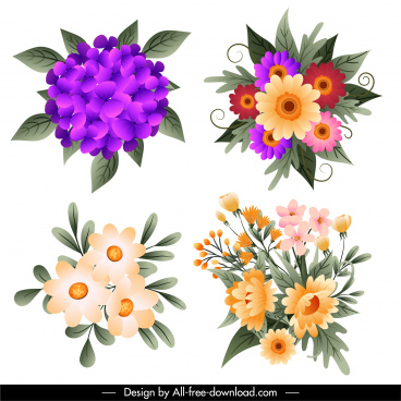 flowers bouquet icons colorful brilliant decor