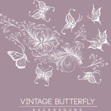 flowers butterflies background white icons sketch