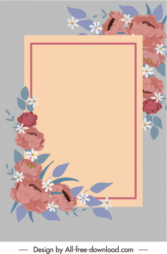 flowers card background template elegant classical decor