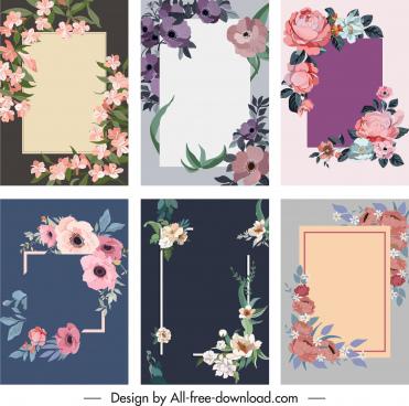 flowers card background templates elegant retro petals decor