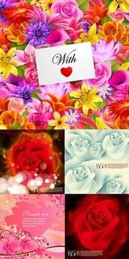 flower card backgrounds colorful blooming blurred decor
