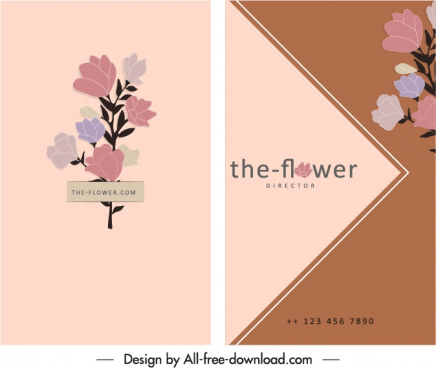 flowers card template elegant classical design