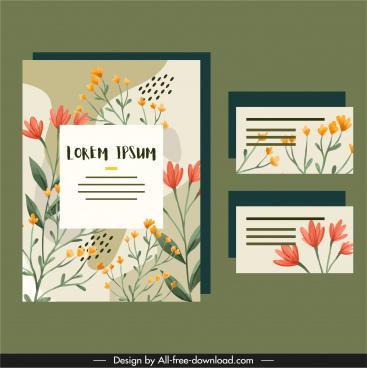 flowers cards templates elegant classical flat design