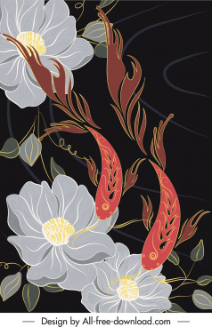 flowers carp painting colorful classic oriental design
